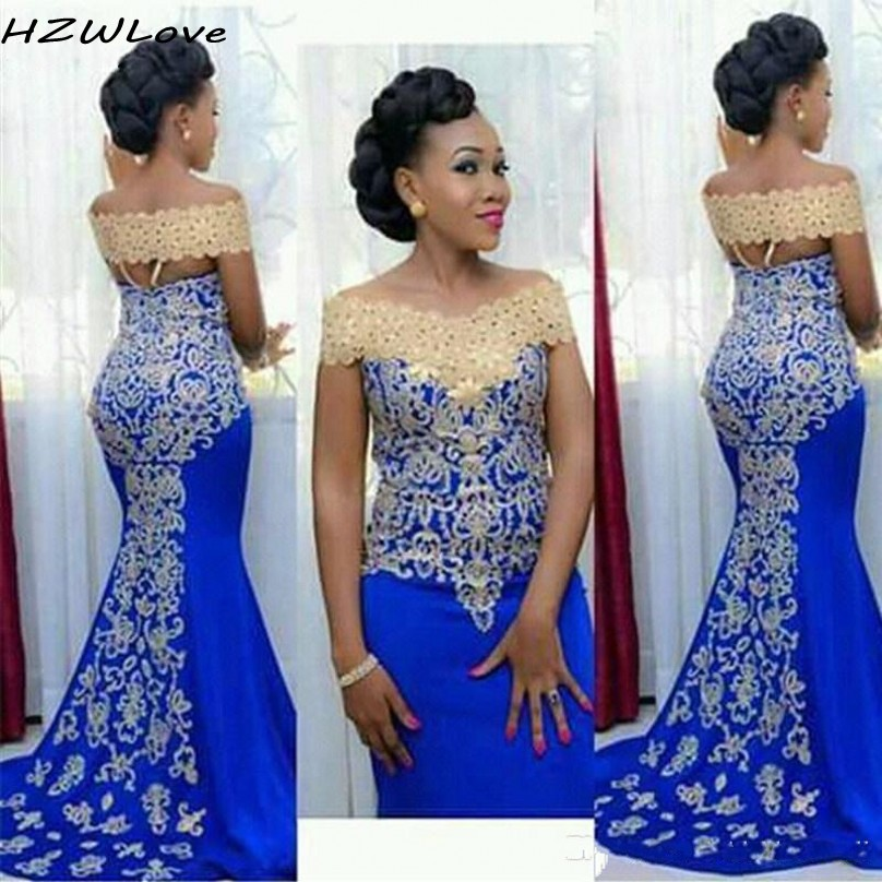 Royal Blue Prom Dresses With Gold Appliques Lace  Off Shoulder African Women Mermaid Evening Dress Back Zipper Robe De Soiree