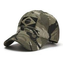 Camuflagem do exército masculino boné de beisebol masculino bordado brasil bandeira bonés esportes ao ar livre tático pai chapéu casual caça chapéus