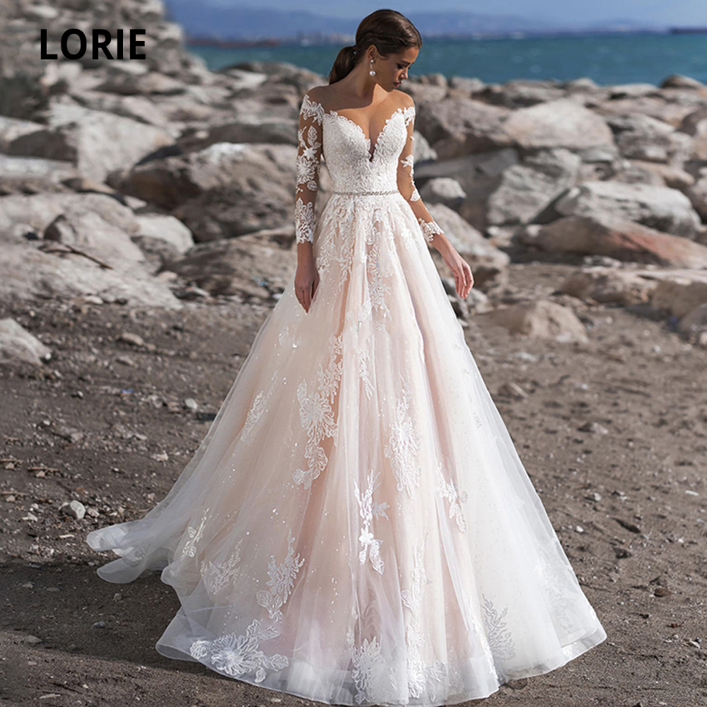 LORIE 2020 Long Sleeve Pink Wedding Dresses Lace Appliques Bridal Gown Illusion Tulle Princess Wedding Party Dress Sweep Train