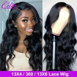 Image 1 - Celie vücut dalga dantel ön peruk s 28 30 inç dantel ön peruk 360 dantel ön peruk siyah kadınlar için 13x6 dantel ön İnsan saç peruk