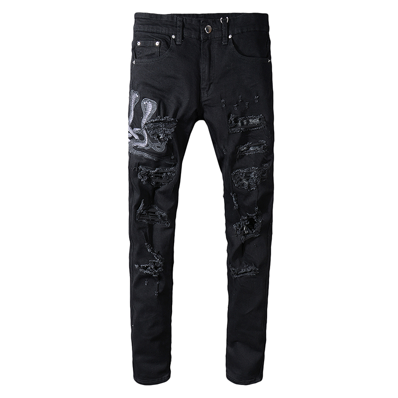 Sokotoo Men's Black Snake Embroidered Skinny Ripped Jeans Streetwear Holes PU Leather Patchwork Stretch Denim Pants