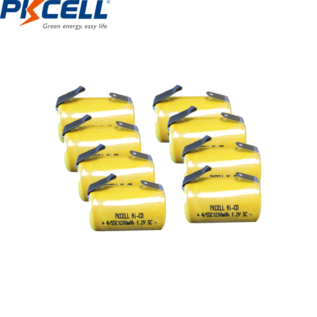 2/6/8/12PCS  PKCELL 4/5SC 1200mAh 1.2V Ni-CD Rechargeable Battery 4/5 SC Sub C batteries with welding tabs for electric tools