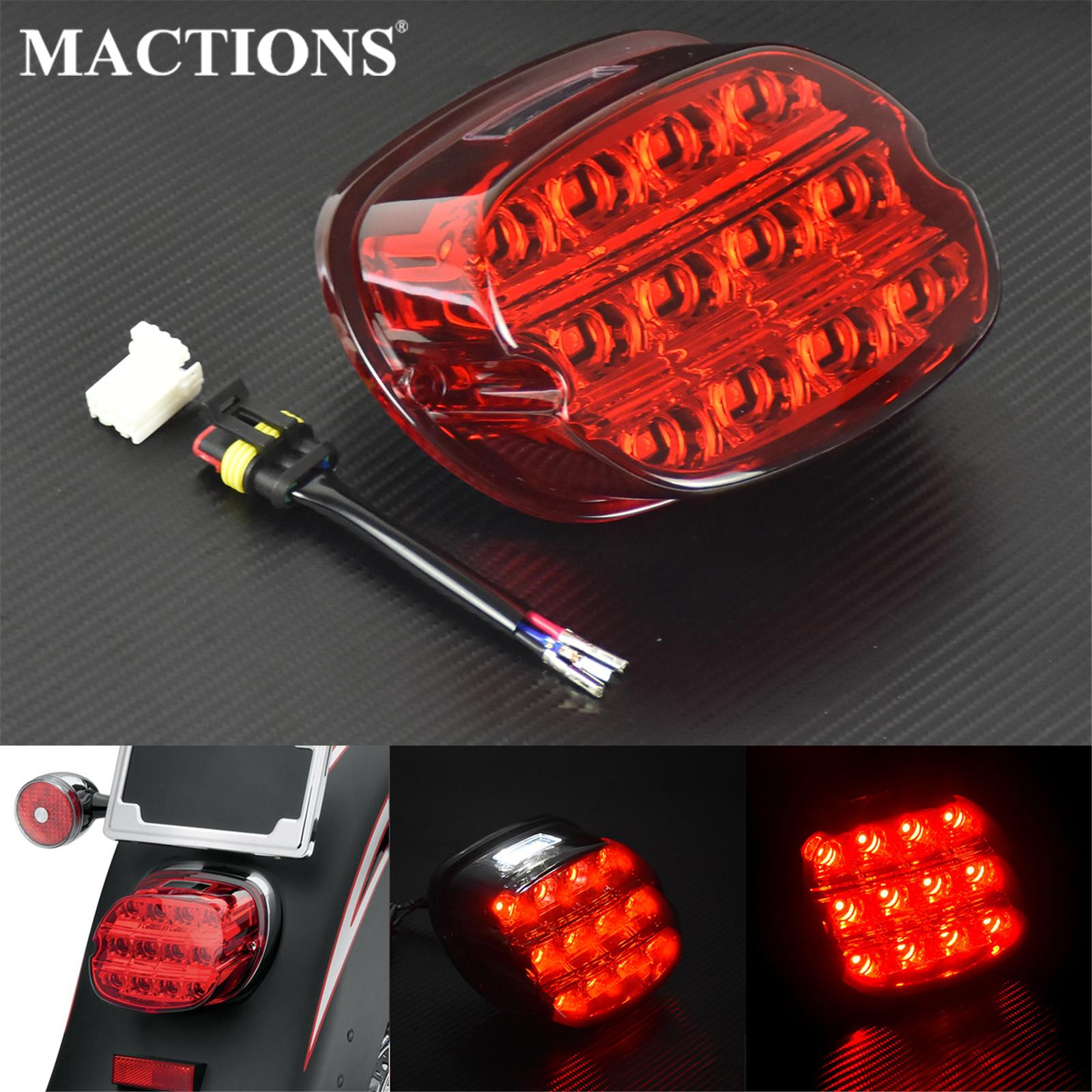 Motorcycle Red LED Brake Tail Light License Plate Rear Lamp For Harley Dyna Fat Boy Softail Sportster XL Road King Electra Glide