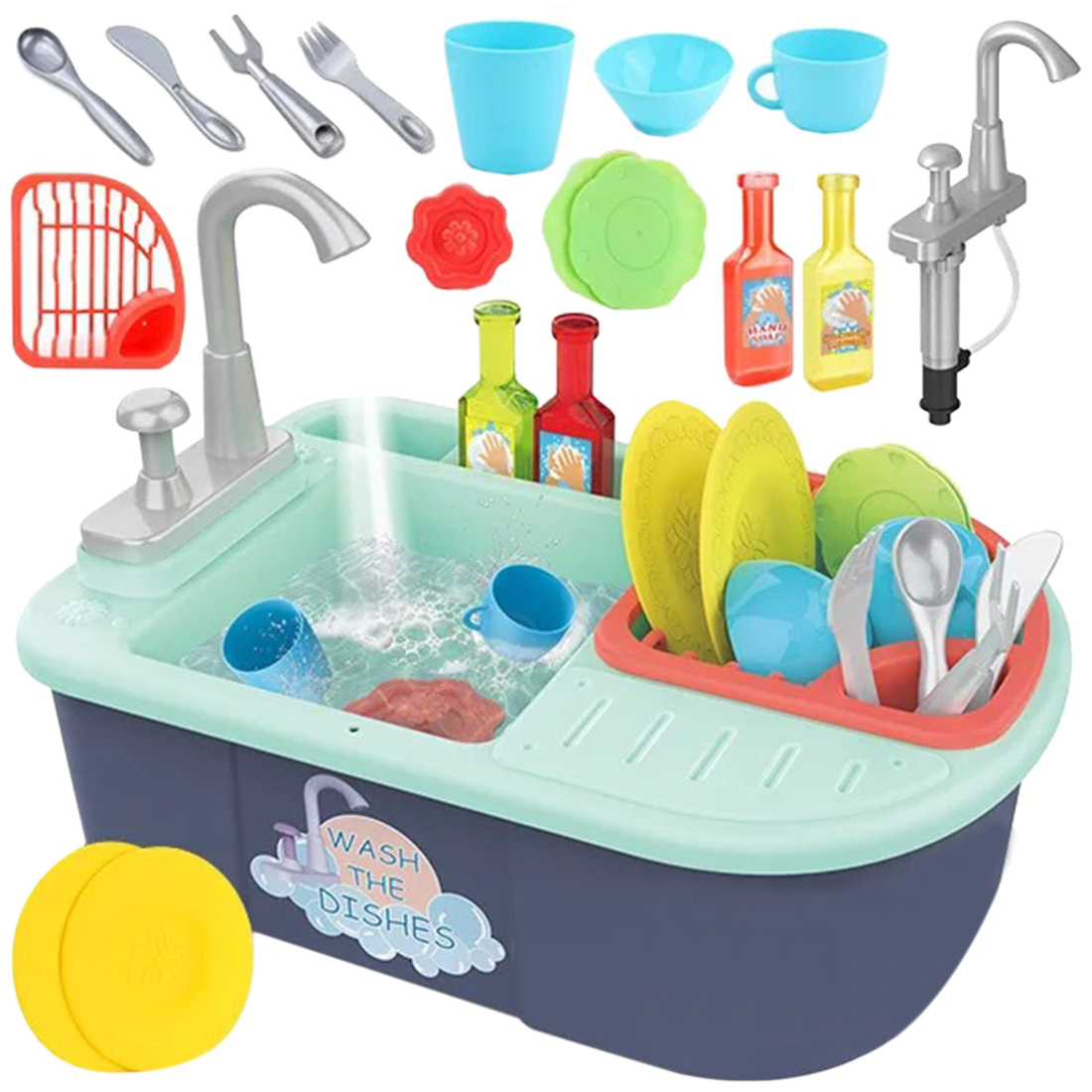 16Pcs Children Simulation Multi-function Dishwasher Pretend Playset Dish Kitchen Toys With Manual Running Water Parent-child Toy