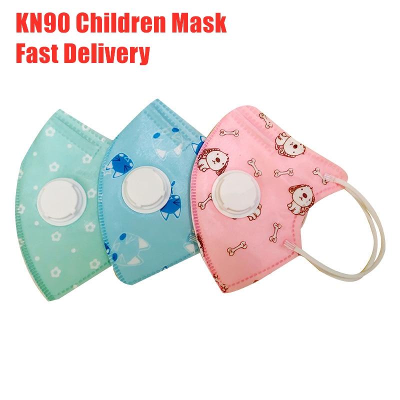 10PCS Kids Mouth Mask KN90 Children Cartoon Anti Virus PM2.5 Anti Haze Face Mask Breath Valve Breathable Print Kids Mouth Mask