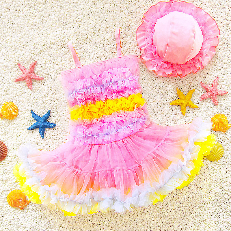 Infants Girls' Princess Skirt-One-piece Sweet Cute Baby Girls Dance Performance Large Children Hot Springs Bathing Suit