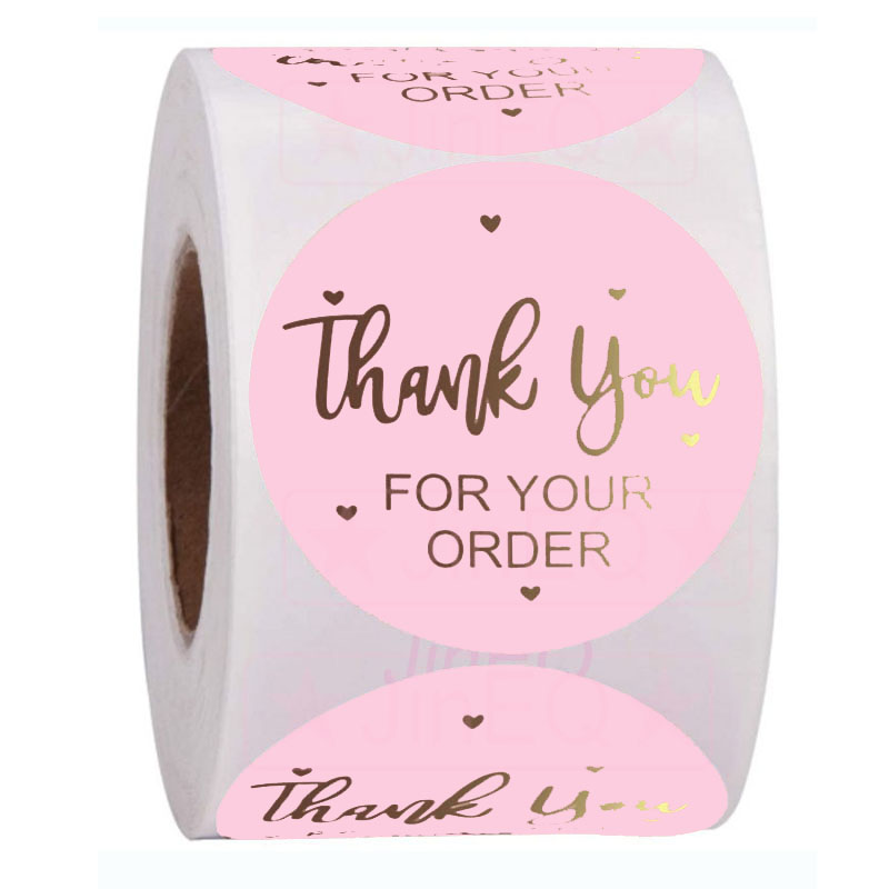 Top SaleÖSticker Kraft-Labels Thank-You Pink Small-Shop Heart-Thanks 500pcs for Local