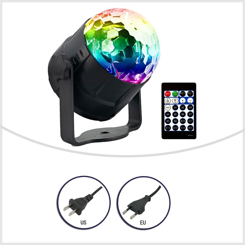 DJ Disco Stage Party 15 Colors LED Ball Light Remote Control Projector Lamp Set Y98E