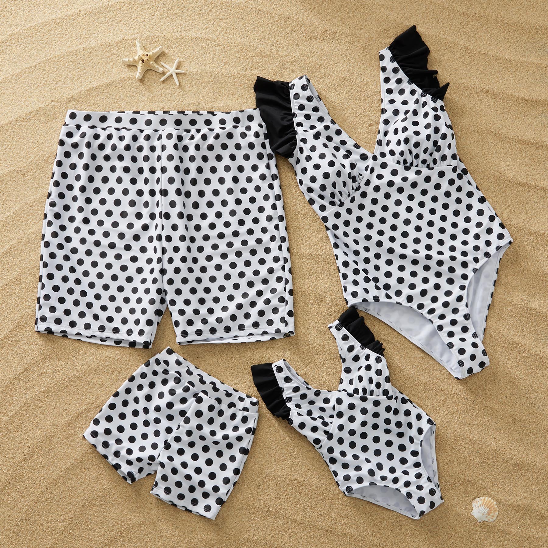 PatPat 2020 New Summer Matching Outfits  Family Look  Swimwear Allover Print Padded Good Elasticity Black/White Color