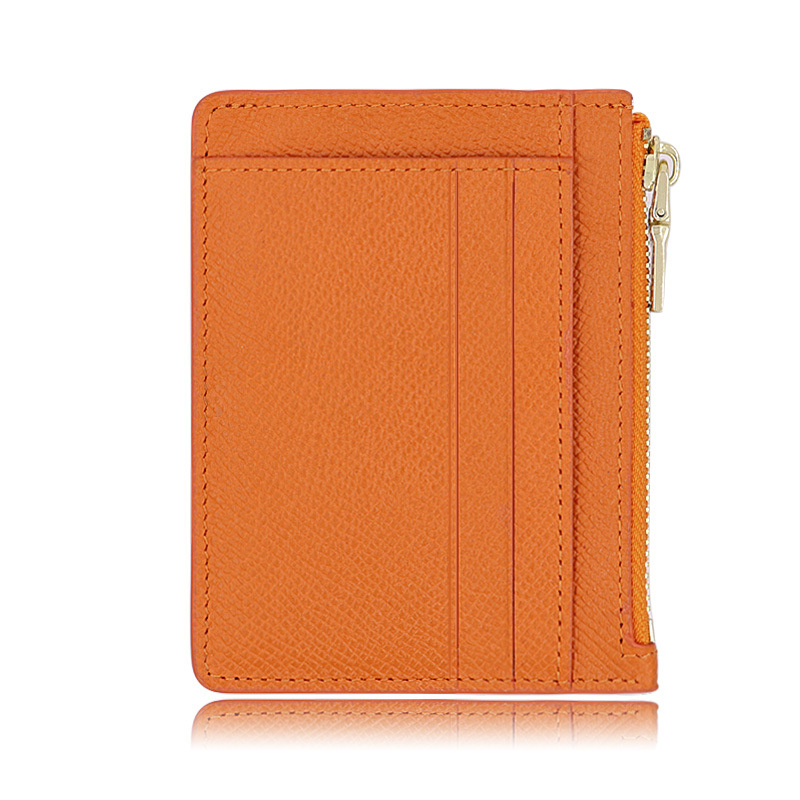 Genuine Leather Zip Card Package Cowhide Ultra-Thin With Key Chain Coin Purse RFID Anti-Theft Card Swiping Bag