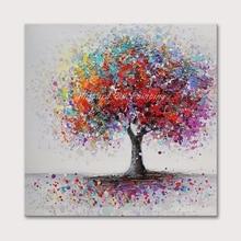 Mintura Oil Painting on Canvas Handmade  Art Hand Painted Acrylic Canva Colorful Tree Wall Art Home Decor Office Decor No Framed