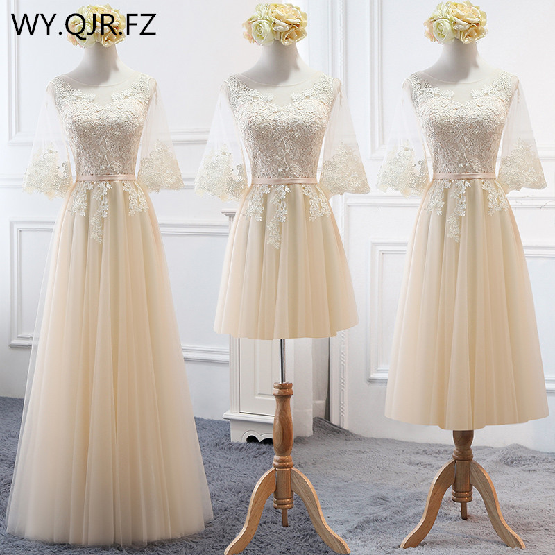 MNZ-17X#Embroidered Champagne   Bridesmaid's     Dresses   Long Lace up Middle sleeve Marriage Sister Christmas   Dress   Girls wholesale