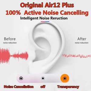 Original Air12 Plus Bluetooth Earphone 5.1 noise Reduction Transparent High-Definition Microphone Super Bass PK i900000 Air3Max