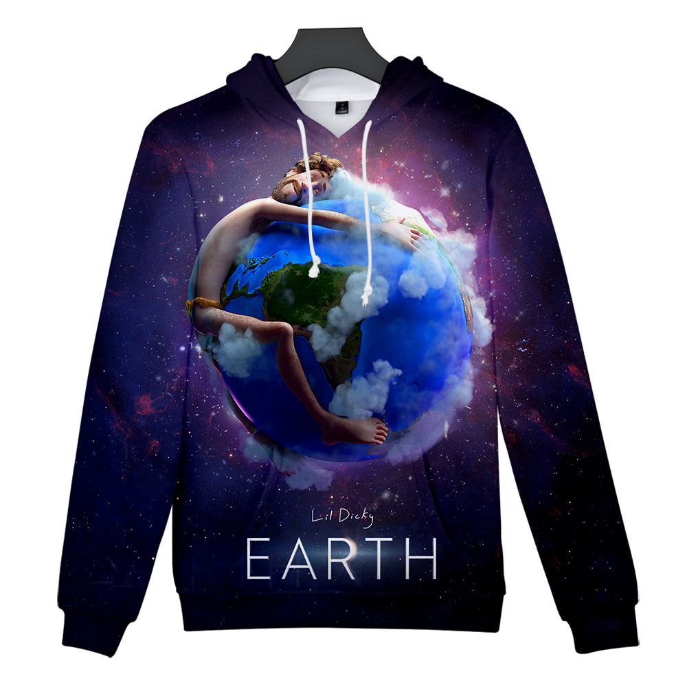 New Leisure Hip hop Song LIL DICKY earth Men's Kpop Slim Casual Hooded Sweatshirt New Trend Casual Cartoon Clothing top image