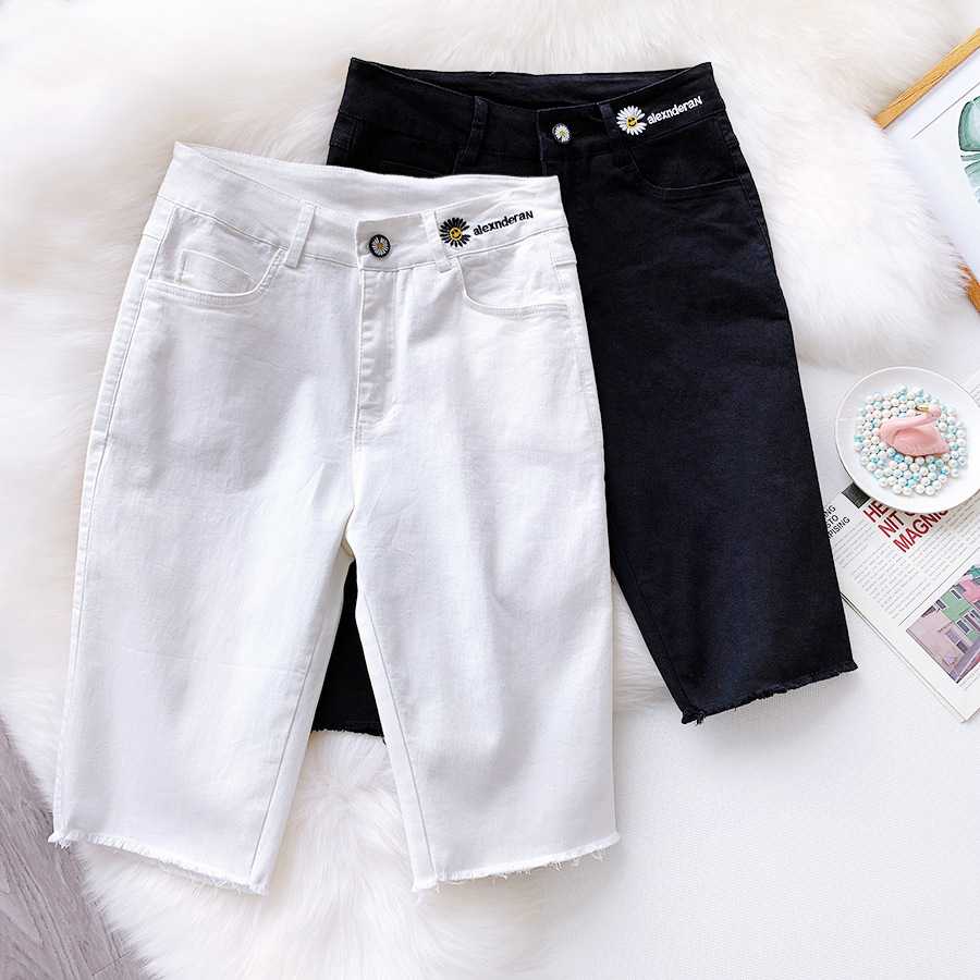 2020 Summer Cotton Women Midi Shorts High Waist Embroidery Dasiy Ladies Knight Elastic Slim White Pantalones Feminino