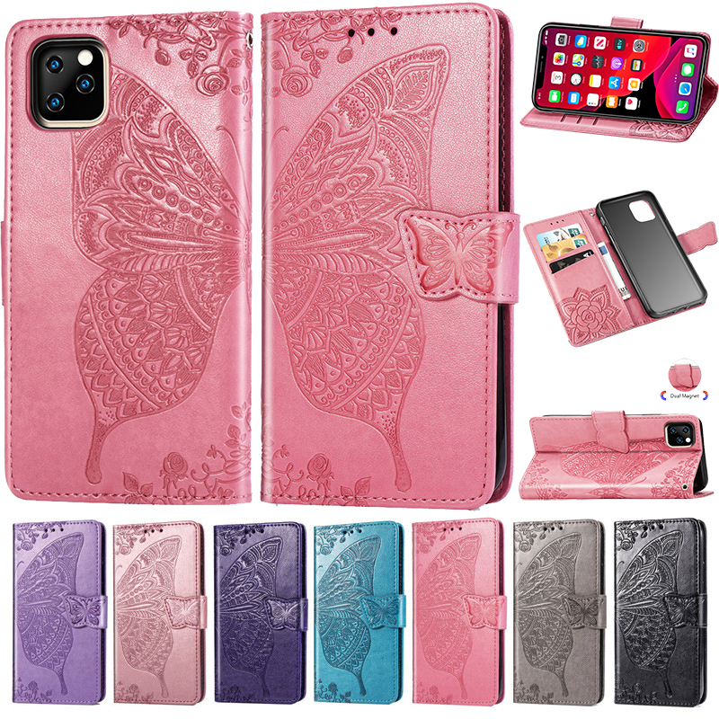 For iPhone 11 Pro XR X XS MAX Luxury Embossed Butterfly Flower PU Leather Wallet Flip Case for iPhone 8 7 6 6S Plus Phone Cover image