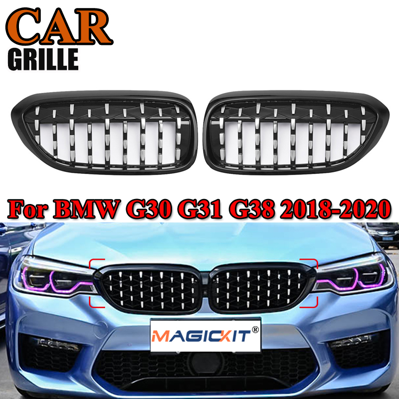 MagicKit Pair For BMW <font><b>G30</b></font> G31 G38 5-Series 520i 535i 17-20 Diamond Kindey Grilles <font><b>Grills</b></font> image