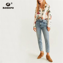 ROHOPO Peony Floral Long Sleeve Autumn Woman White Blouse Round Edge Elegant Ladies Chic Top Shirt #9063