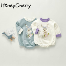 Baby Bodysuit Onesie Cotton Girls Boys Long-Sleeved And Autumn Crawling Round-Neck Printed