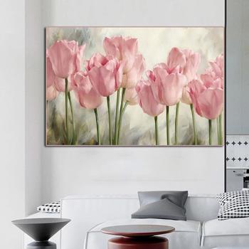Sztuka klasyczne różowe kwiaty tulipanów płótno malarstwo plakaty i druki strona główna sypialnia jadalnia dekoracja ścienna malowanie tanie i dobre opinie CN (pochodzenie) Wydruki na płótnie Pojedyncze PŁÓTNO Olej Flower bez ramki YH-169 Malowanie natryskowe Prostokąt poziomy