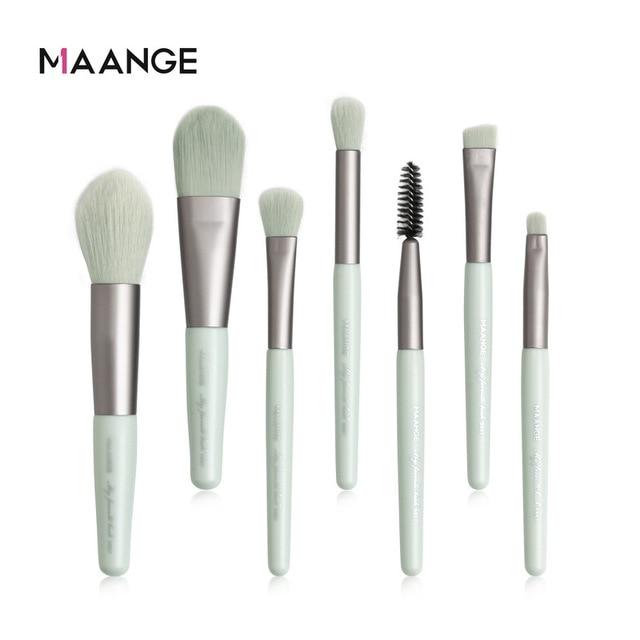 MAANGE 7Pcs Makeup Brushes Mini Set Cosmetic Powder Eye Shadow Foundation Blush Blending Beauty Make Up Brush Eye Shadow Applicator    -