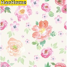 HaoHome Peel and Stick Wallpaper Handpainting Seamless Watercolor Peony Flower Green Leaves Self-Adhesive Prepasted Wallpaper