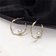 2020 New Arrival Fashion S925 Silver Plated Stud Simple Metal Circle Pearl Earrings for Women Accessories Jewelry 2020 new arrival fashion cool s925 silver plated stud metal style c shaped earring for women accessories jewelry
