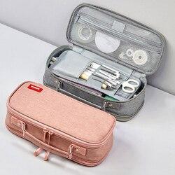 Kawaii, тканевый двойной слой, Большой Вместительный чехол для карандашей, сумка для карандашей, портативная ручка, кисти, сумка, коробка, подар...