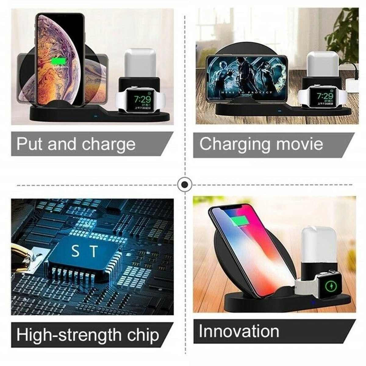 Cargador de inducción de carga inalámbrica Qi 3 en 1 para iPhone X XS Max para Airpod para Apple Watch estación de acoplamiento