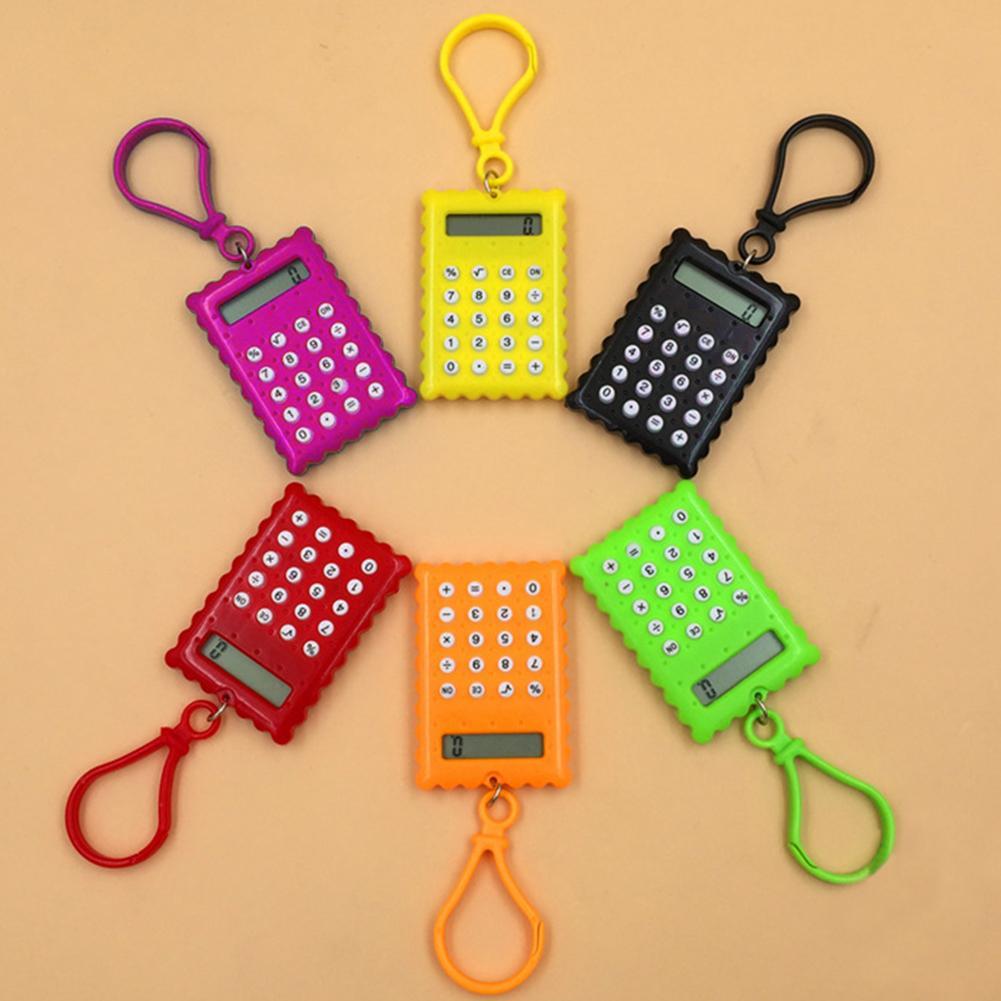 Мини калькулятор карманный студенческий мини электронный калькулятор зеркало с форме печенья школьные офисные принадлежности мини кальку...