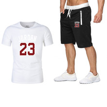 2019 New Men Fashion Two Pieces Sets T Shirts+shorts Suit Summer Tops Tees Tshirt High Quality Beach Shorts