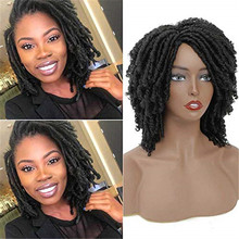 Dreadlock Wig Braided Brown Curly Short Twist Gradient Black Synthetic for Afro Two-Colors