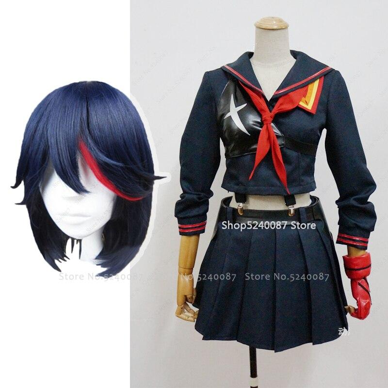 Anime KILL La KILL Matoi Ryuko Wigs Short Hair Cosplay Costume Necklace T-shirt Skirt Vest Scarf Gloves Belt School Uniform Suit