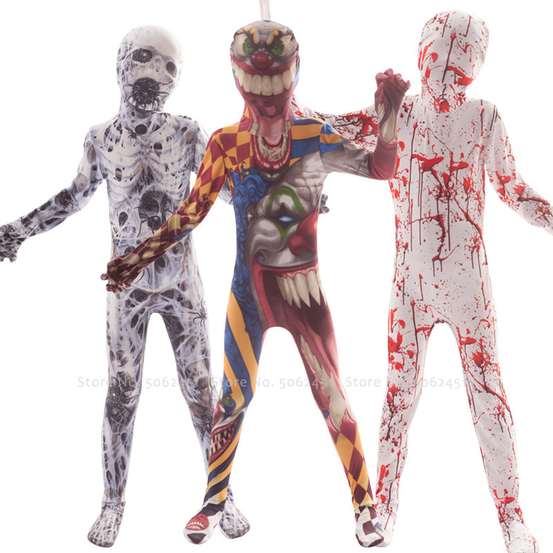 Halloween Children Horror 3D Print Zombie Bloody Zentai Devil Clown Skeleton Kids Jumpsuit Carnival Party Scary Cosplay Costumes