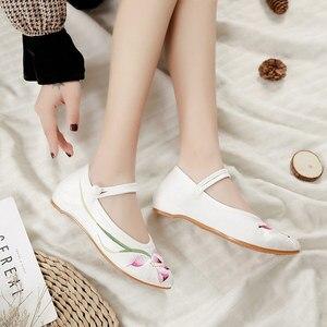 Image 5 - Veowalk bailarinas bordadas de franela para mujer, zapatos planos con punta bordada, de algodón, cómodos, con correa en el tobillo