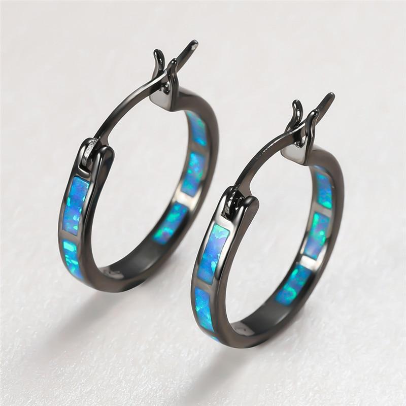 White Blue Opal Stone Hoop Earrings For Women Vintage Fashion Black Gold Round Circle Earrings Female Wedding Birthstone Jewelry