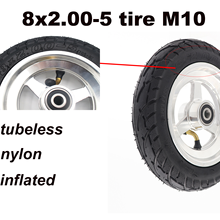 8x2.00-5 inch tire M10 non-slip tubeless tires parts of electric bike motorcycle with pneumatic nylon wheel and alloy hub
