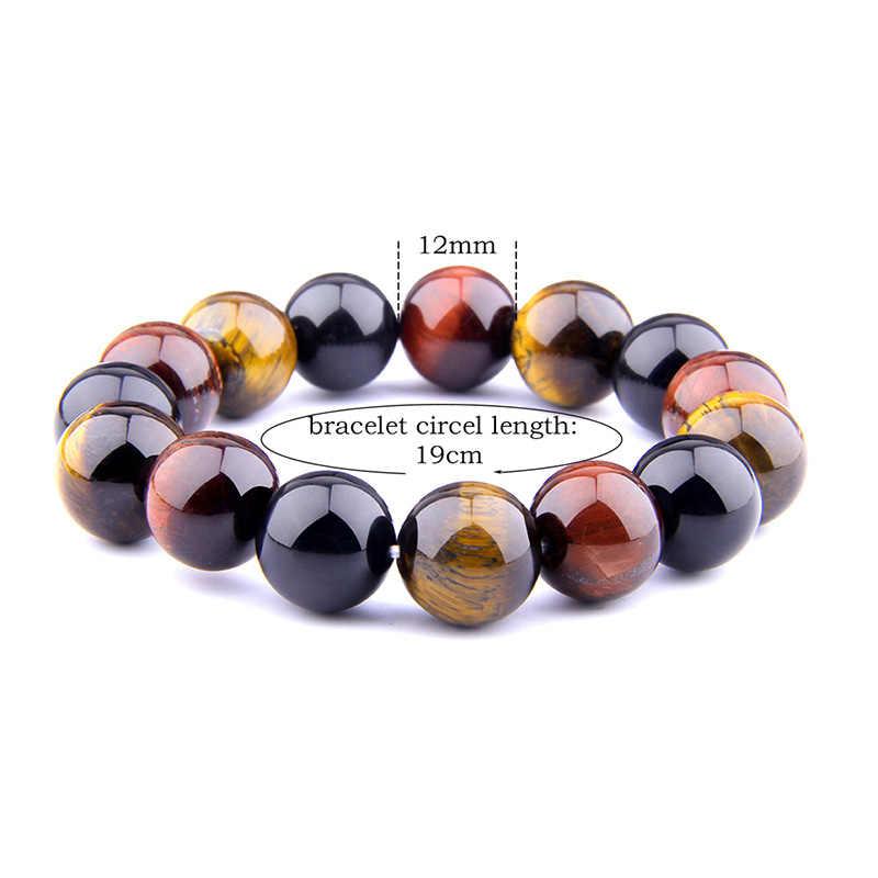 Homens pulseiras naturais 12 mm polido amarelo/vermelho tigre olho pedra contas pulseira para homme budismo banlance energia yoga jóias