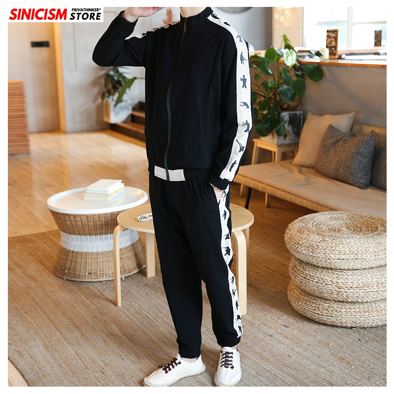 Sinicism Store Men's Sets Spring Chinese Style Coat Streetwear Tracksuit Mens 2020 Loose Zipper Pants Linen Suit Male Clothes