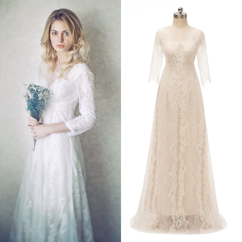 REAL PHOTO Lace Bridal Gown Champagne Lining Vintage Boho Bride Wedding Dress Factory Cheap Price