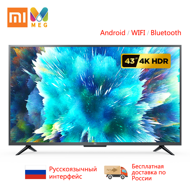 Télévision xiaomi mi TV 4s 43 android Smart TV LED 4K 1G + 8G Custo mi zed langue russe | support mural cadeau