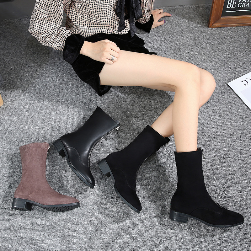 2019 New Style Autumn And Winter Women's Boots Small 3233 Round Flat British-Style Casual Martin Short Boots Large Size 41-43