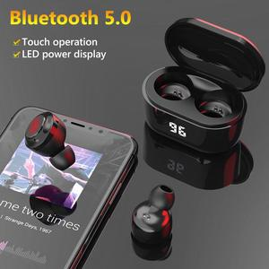 Dropshipping In-ear Earphones A6 TWS Mini Wireless Bluetooth 5.0 HiFi Stereo Earphones with Digital Charge Box LED Power Display