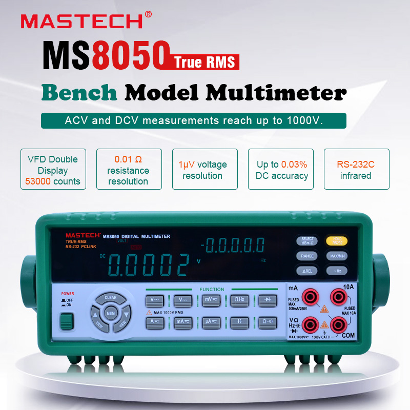MASTECH <font><b>MS8050</b></font> Digital Multimeter 53000 Counts Professional Desktop Auto Range Bench Top Multimeter High Accuracy True RMS image