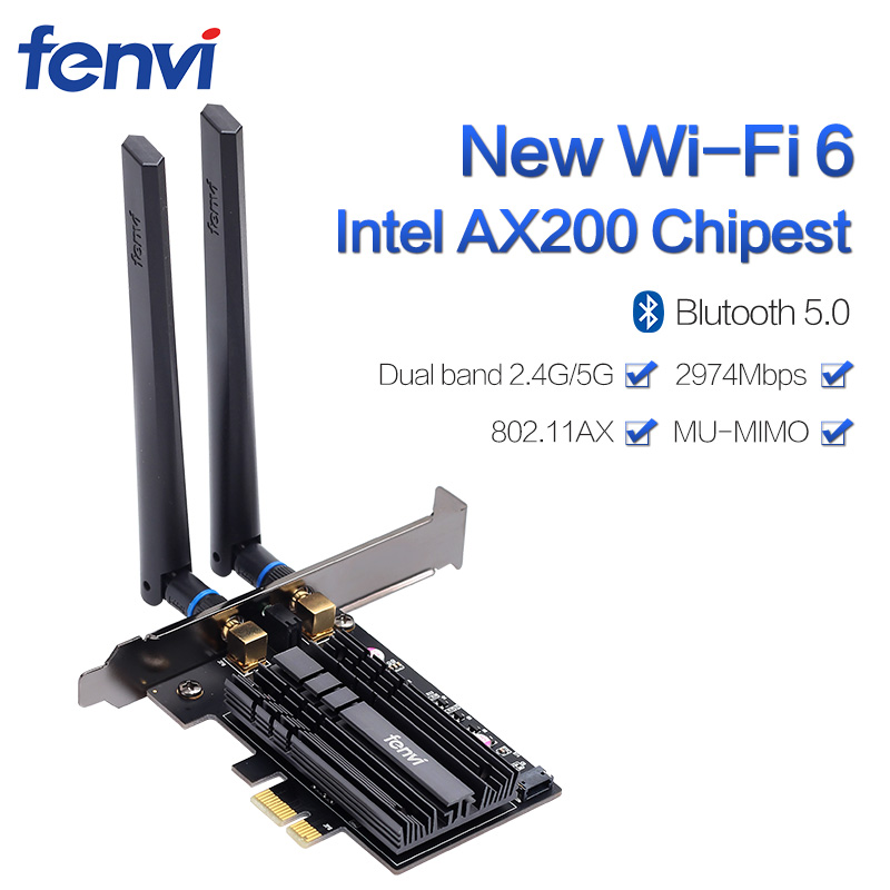 Wireless Desktop For Intel Wi-Fi 6 AX200 Bluetooth 5.0 Dual Band 2400Mbps PCI Express Wifi Adapter AX200NGW 802.11ax Windows 10