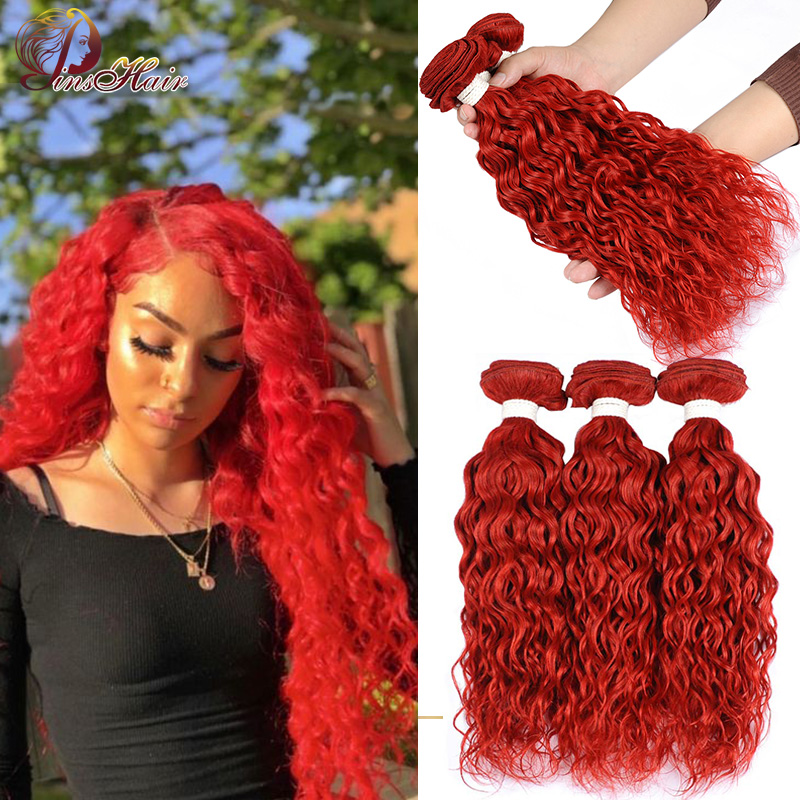 Red Hair Bundles Water Wave 3 Bundle Deals Real Human Hair Weave Bundles Red Burgundy Peruvian Hair Bundles Pinshair Remy Hair
