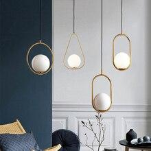 LED moderne boule de verre ronde pendentif lumières fer E14 lampes suspendues luminaire suspendu pour salon chambre à manger