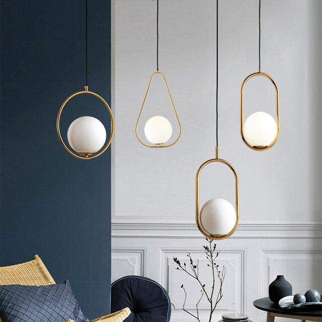 Modern LED yuvarlak cam küre kolye işıkları demir E14 kolye lambaları asılı aydınlatma armatürü oturma yatak odası yemek odası
