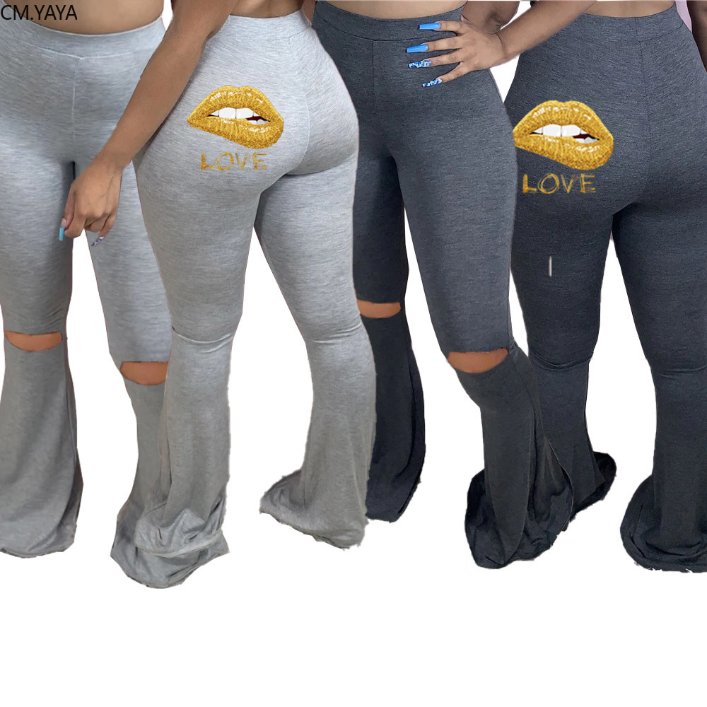 CM.YAYA dudaklar aşk baskı kadın elastik delik geniş bacak Flare pantolon tayt yüksek bel pantolon dökümlü koşucu pantolonu Sweatpants