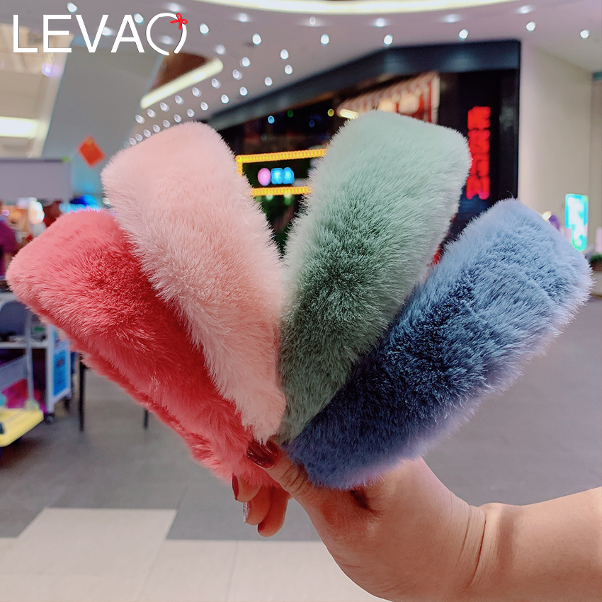 LEVAO Retro Winter Faux Fur Headband For Women Hair Accessories Sweet Candy Color Warm Fur Head Wrap Female Head Bezel